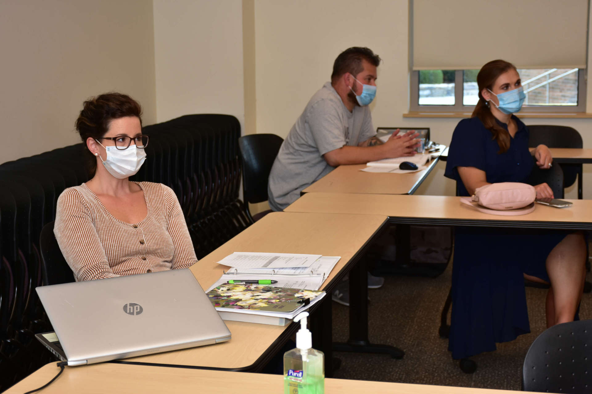 D.N.P. student Kristi Ashton of Martinsburg (foreground) attends a class on photobiomodulation.