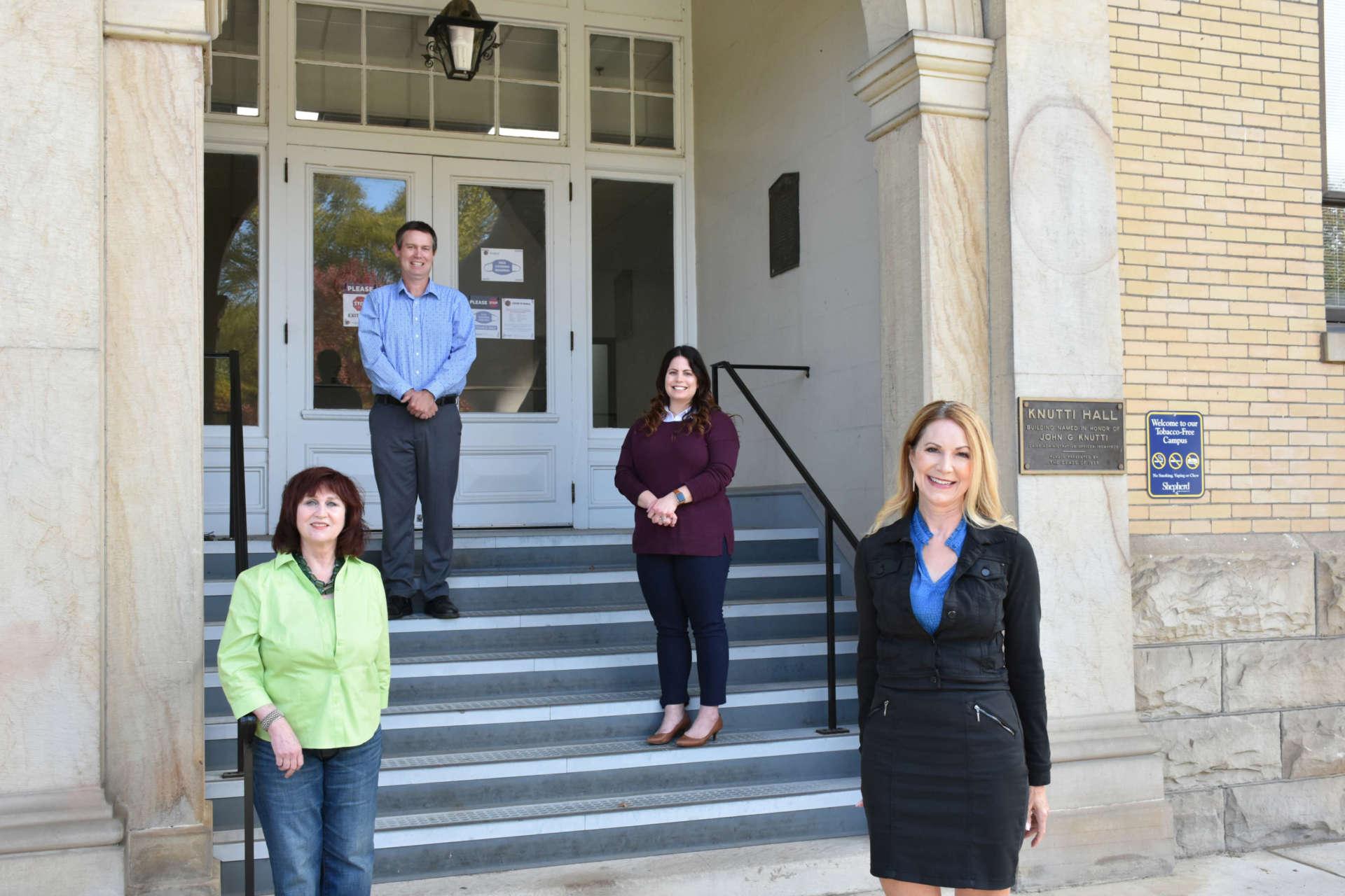 Pictured (l. to r.) are Dr. Dawne Burke, professor of education; Dr. Jason Allen, assistant professor of education; Helen Baker, field placement coordinator and lecturer; and Dr. Jennifer Penland, director, School of Education.