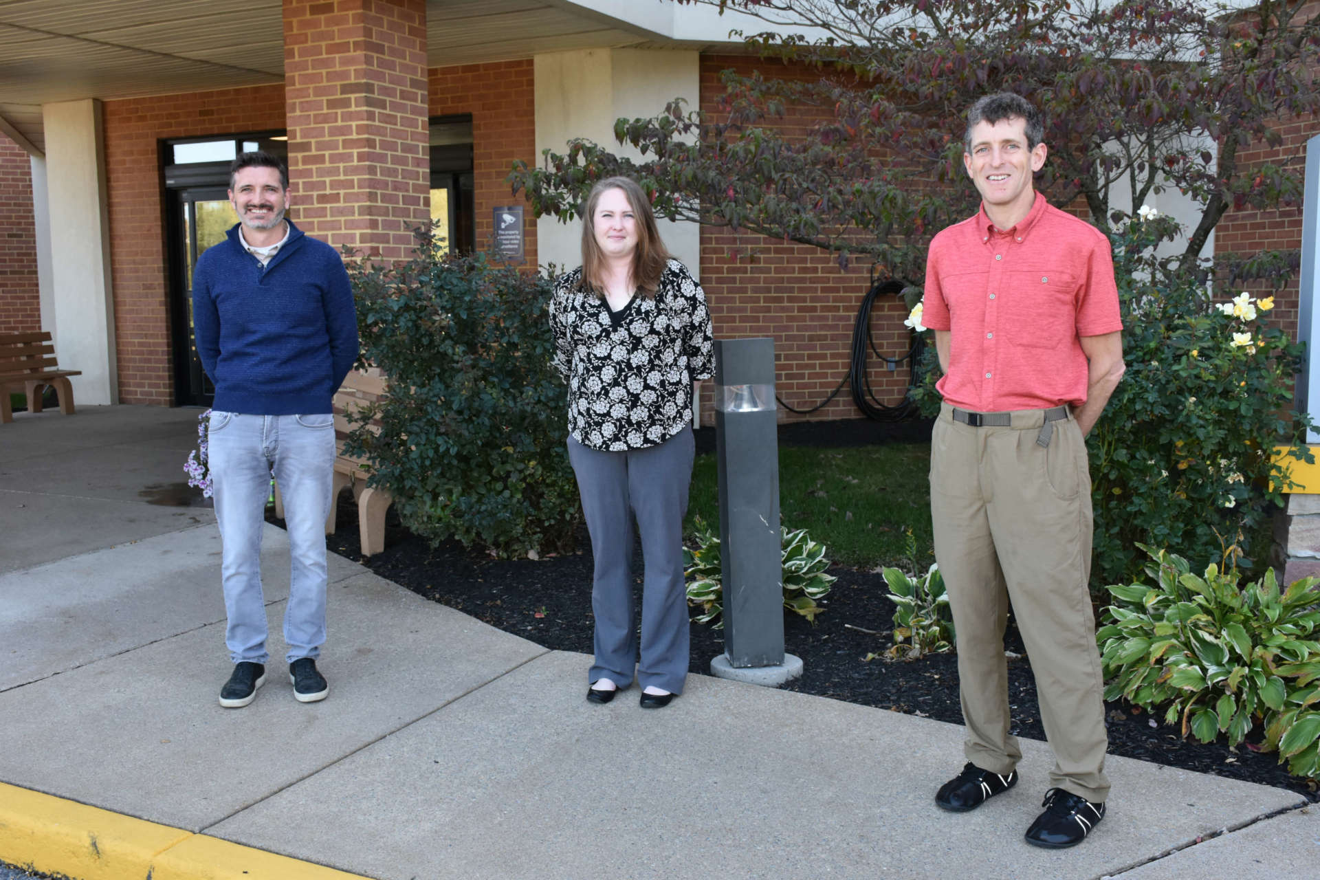 Pictured (l. to r.) are James Hersick, communications and marketing support; Candace Sutphin, program manager; and Dr. Mark Cucuzzella, project lead. Not pictured are Fiona Harrison, Charles Town market manager, and Cindy Marzullo, Shepherdstown Market Manager.
