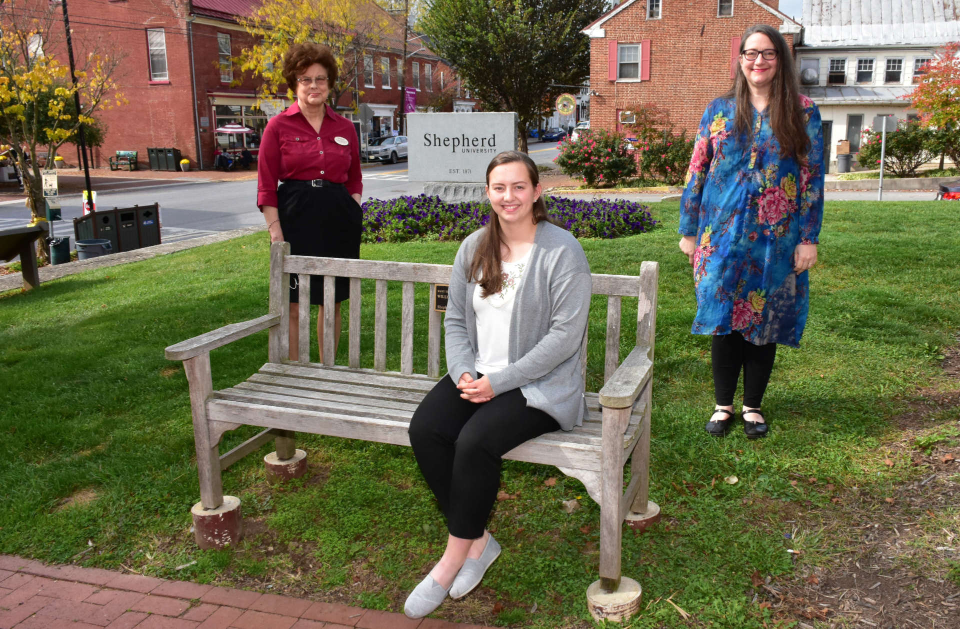 Pictured are (seated) Leanna Basye, a secondary education major from Baker, and (standing, l. to r.) Dr. Sylvia Bailey Shurbutt, director, Shepherd University Center for Appalachian Studies and Communities, and Rachael Meads, student activities and leadership/ Appalachian studies instructor.