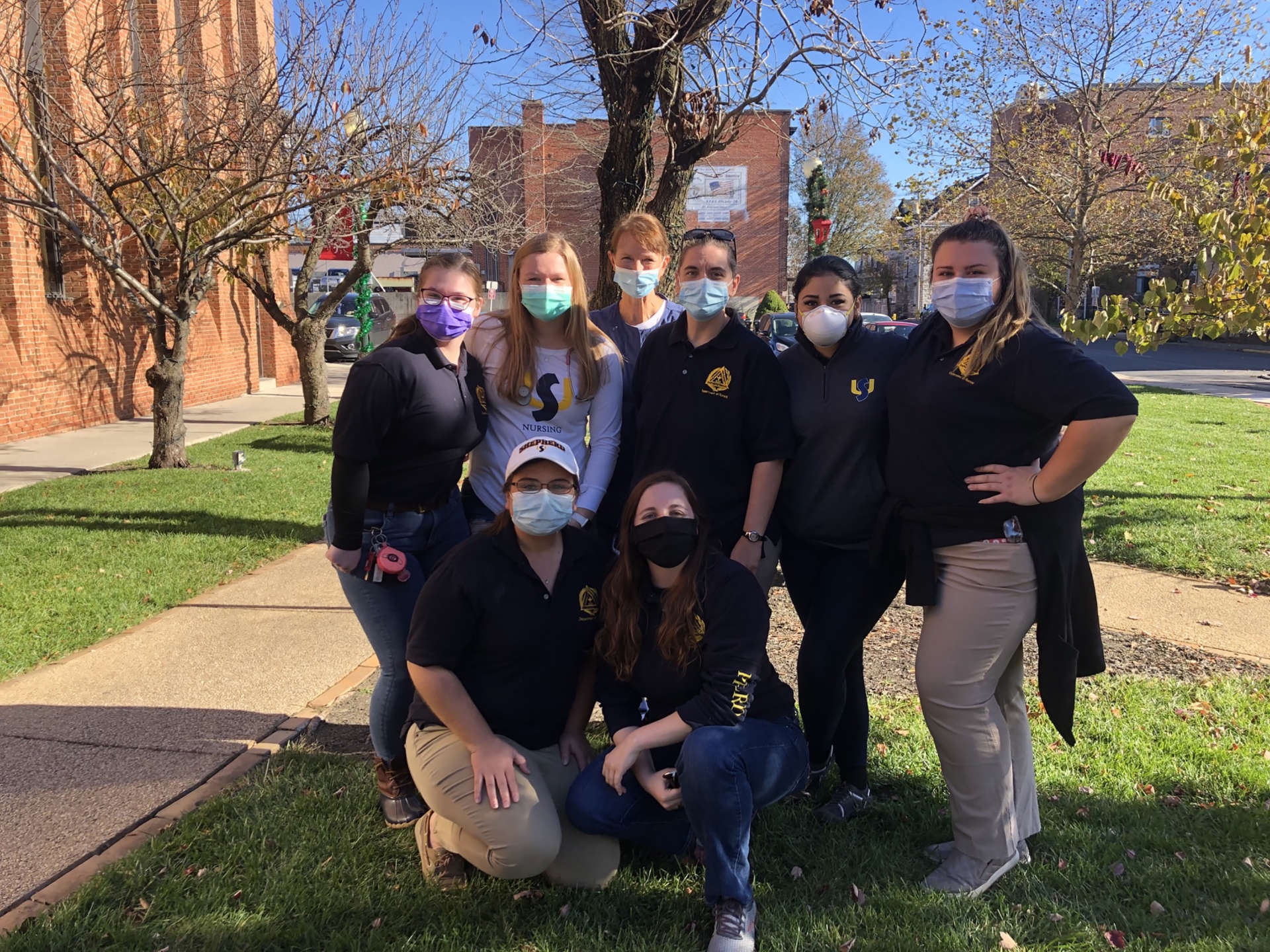 "Pictured (kneeling, l. to r.) are nursing majors Megan Suittmiller, Hebron, Maryland, and Moriah King, Cumberland, Maryland; standing, Makailee Wood, Martinsburg, Chelsey Black, St. Thomas, Pennsylvania, Dr. Lisa Zerull, assistant professor of nursing, Shena Morris, Martinsburg, Maria ""MJ"" Acevedo-Cabrera, Shepherdstown, and Bethany Larrimore, Inwood."