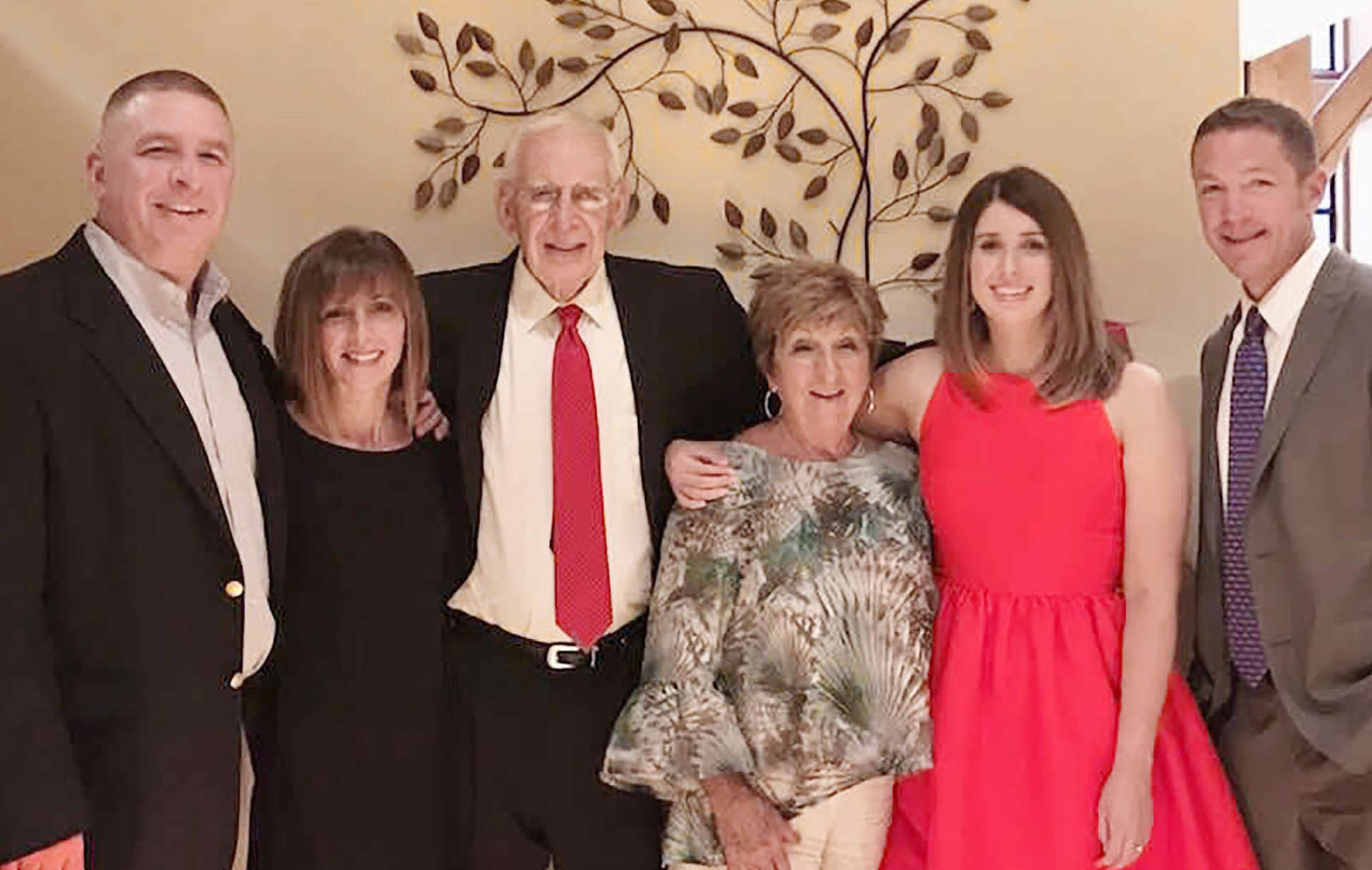 Pictured (l. to r.) are son Chris Fincham, daughter-in-law J.J. Fincham, Ed Fincham, Sophia Fincham, daughter-in-law Amy Fincham, and son Andrew Fincham.