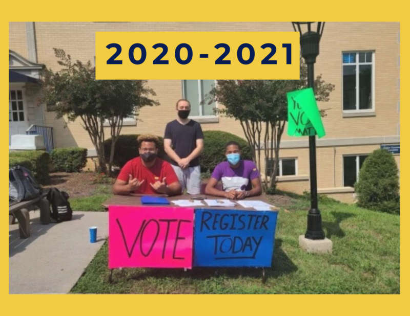 """yellow background, photo of people in masks sitting at a voting table, above them reads """"2020-2021"""""""
