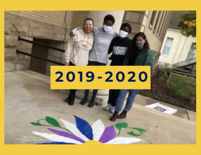 """yellow background, in the center is an image of four people with masks on standing beside each other standing behind chalk art on the sidewalk, and in the center reads """"2019-2020"""""""