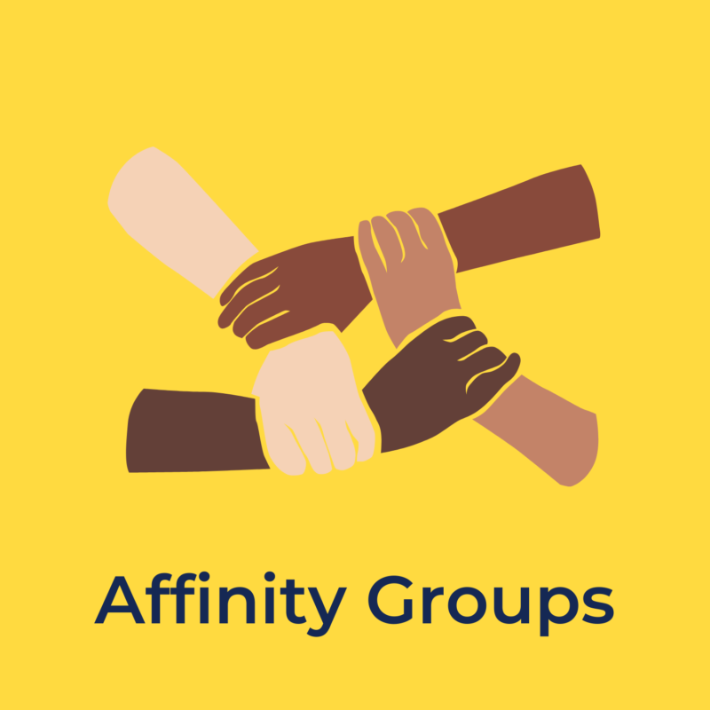 """yellow background, in the center are four hands grabbing each others wrists, and below that reads """"affinity groups"""""""