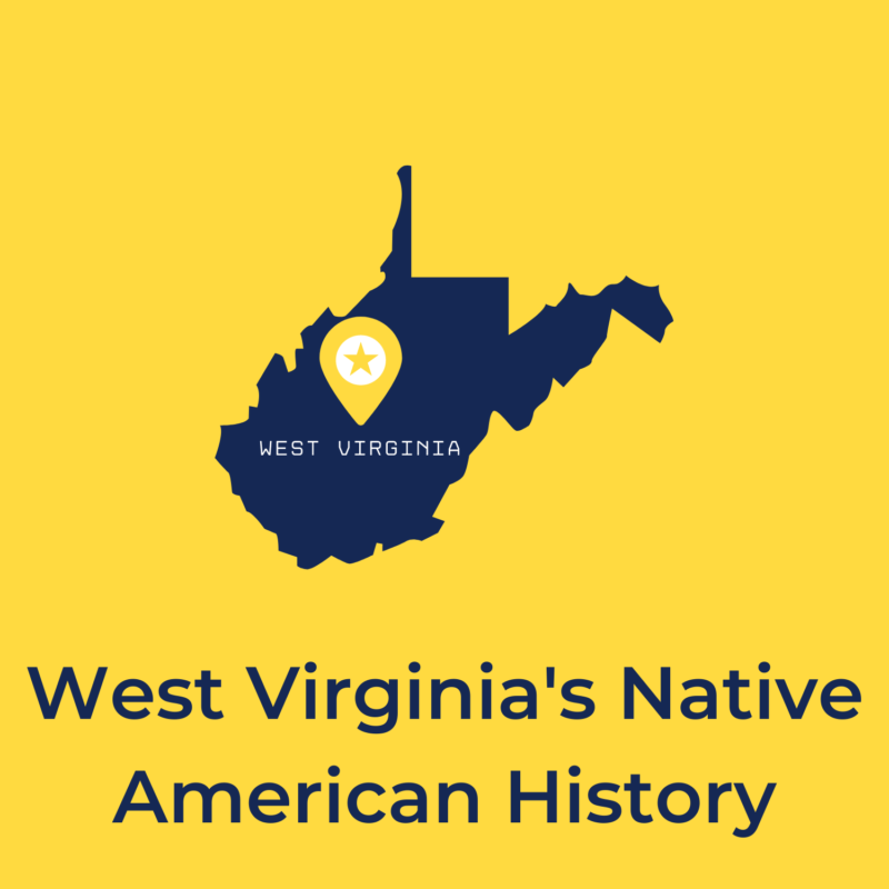 """yellow background, in the center is a drawing of west virginia, and underneath reads """"west virginia's native american history"""""""
