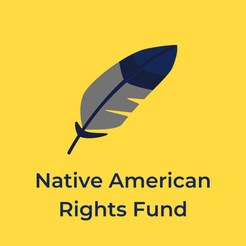 """yellow background, in the center is a feather, and underneath reads """"native american rights fund"""""""