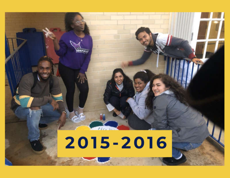 """yellow background, in the center is an image of a group of students surrounding chalk art, and in the bottom center reads """"2015-2016"""""""