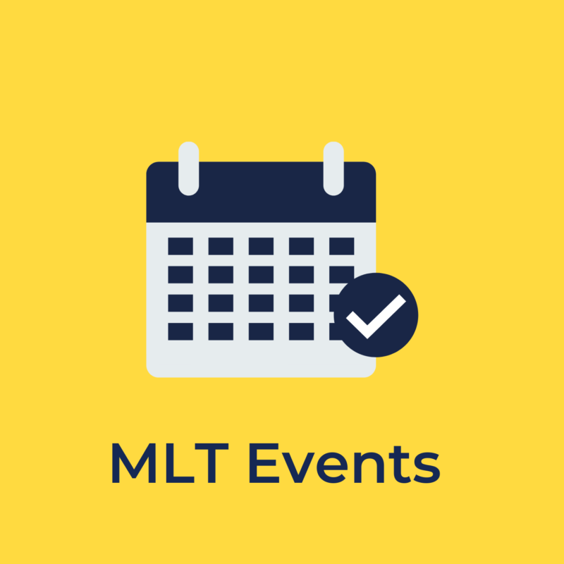 """yellow background, in the center is a calendar, and below it reads """"MLT events"""""""