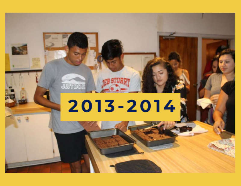 """yellow background, in the center is a group of students serving food, and in the center reads """"2013-2014"""""""