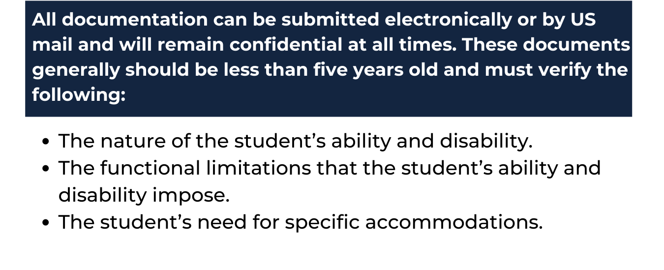 """white background with navy blue rectangle at the top which reads """"All documentation can be submitted electronically or by US mail and will remain confidential at all times. These documents generally should be less than five years old and must verify the following:"""" and underneath in blue text reads """"The nature of the student's ability and disability. The functional limitations that the student's ability and disability impose. The student's need for specific accommodations."""""""