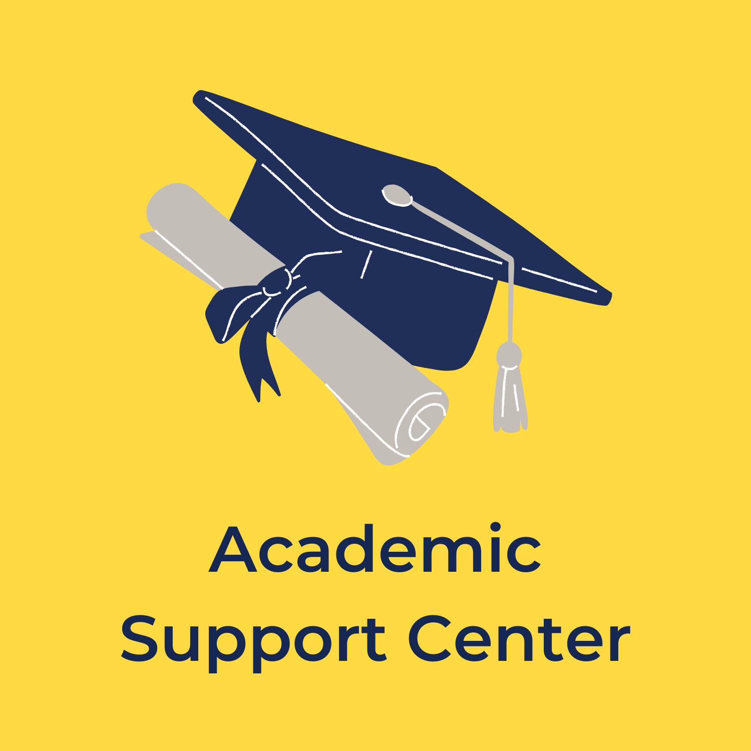 """yellow background with a cap and diploma in the center, underneath reads """"academic support center"""""""