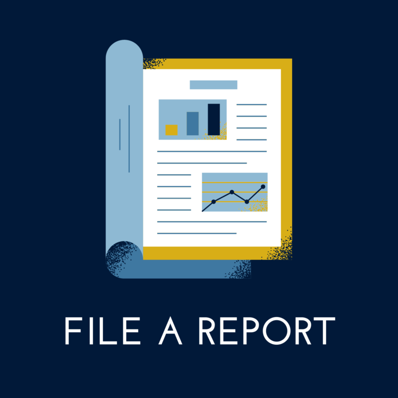 """navy blue background, in the center is a business report, and below it reads """"file a report"""""""