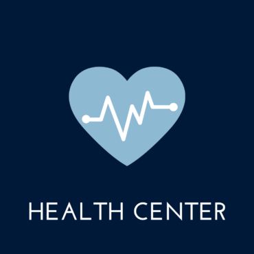 """blue background, heart in the center, text reads """"health center"""""""
