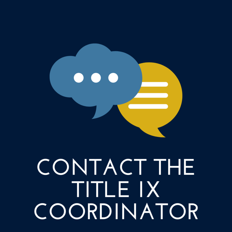 """navy blue background, in the center are two message bubbles, below it reads """"contact title nine coordinator"""""""