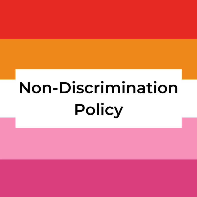 """background is lesbian pride flag, in the center reads """"non-discrimination policy"""""""