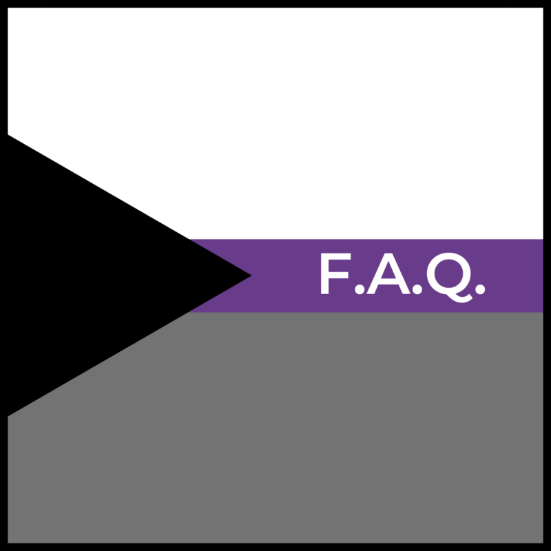 """background is demisexual flag, in the center reads """"FAQ"""""""