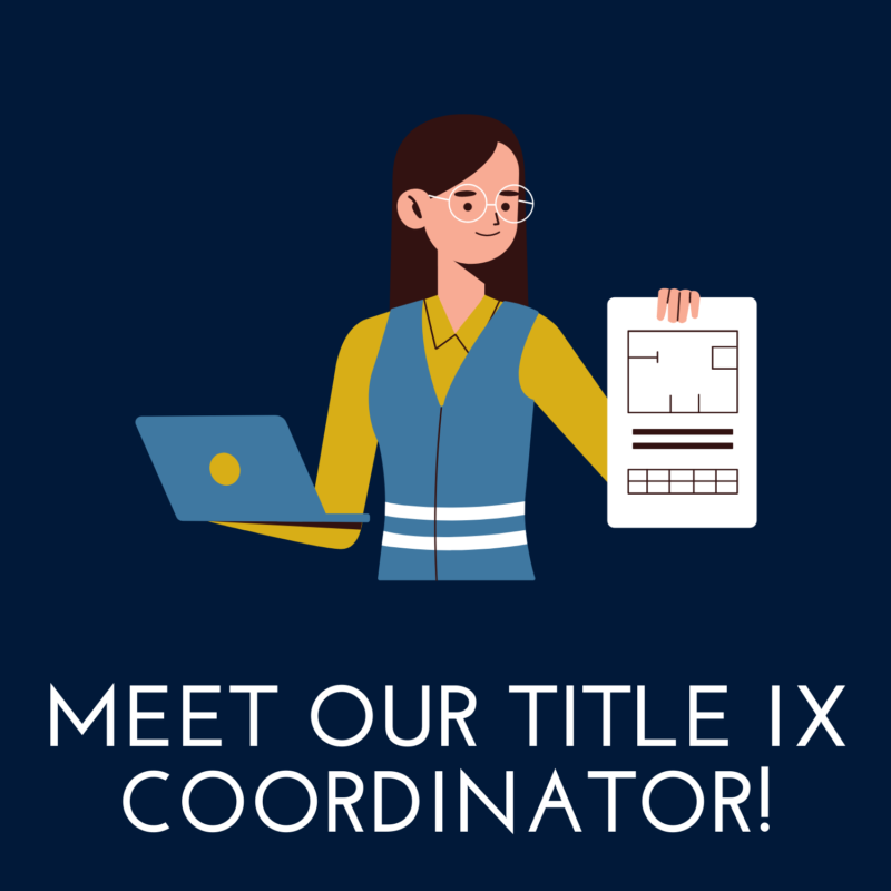 """blue background, in the center is a woman holding a laptop and report, and underneath reads """"meet our title nine coordinator"""""""