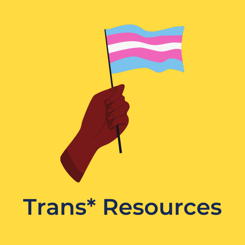 """yellow background, in the center is a hand holding a trans flag, below it reads """"trans* resources"""""""