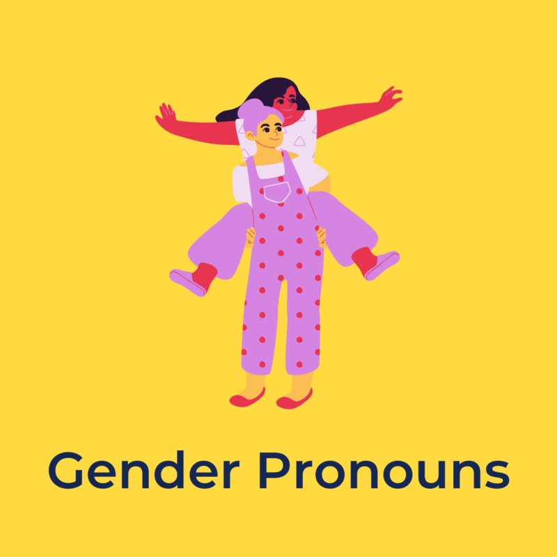 """yellow background, in the center is a person holding another person on their back, and underneath reads """"gender pronouns"""""""