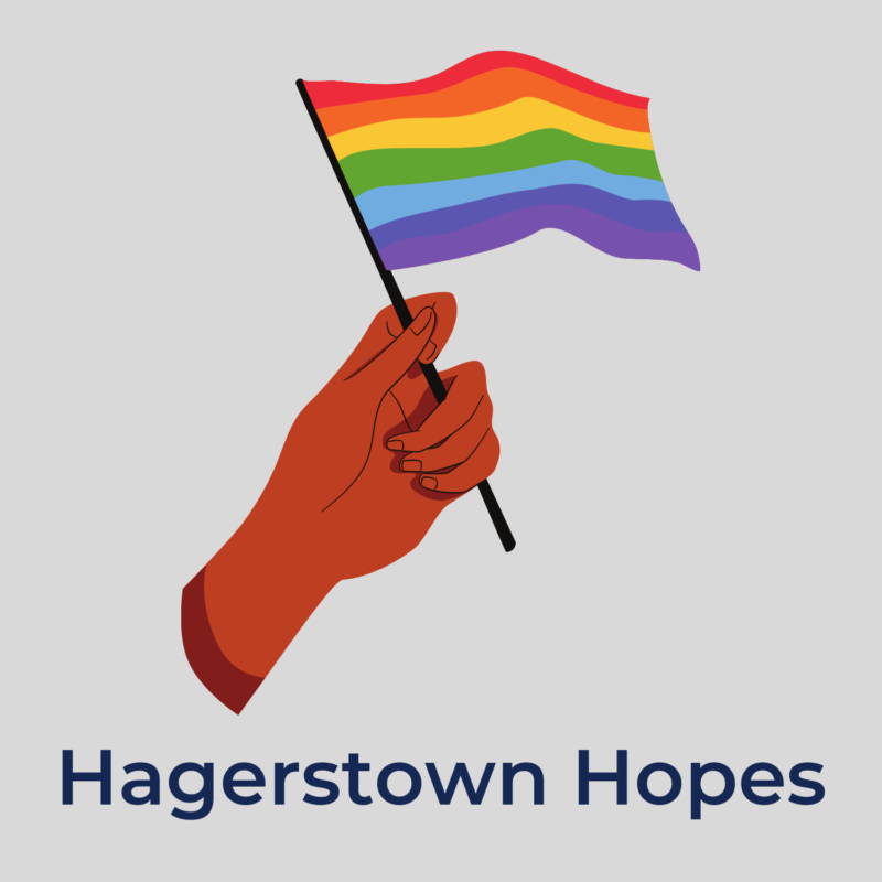 """gray background, in the center is a hand holding a gay pride flag, and beneath it reads """"hagerstown hopes"""""""