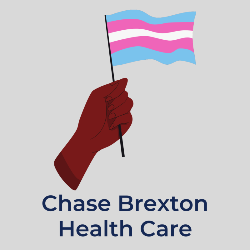 """gray background, in the center is a hand holding a trans flag, and below it reads """"chase brexton health care"""""""