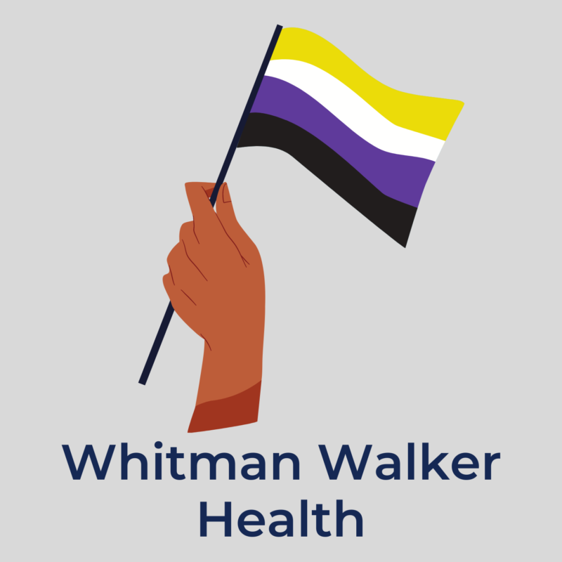 """gray background, in the center is a hand holding a non-binary flag, underneath reads """"whitman walker health"""""""