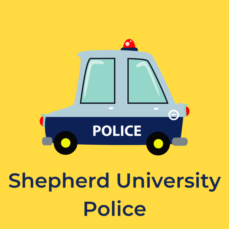 """yellow background, in the center is a police car, and underneath it reads """"shepherd university police"""""""