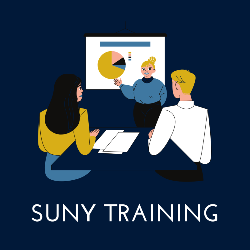 """blue background, in the center is a person giving a presentation, and underneath reads """"SUNY training"""""""