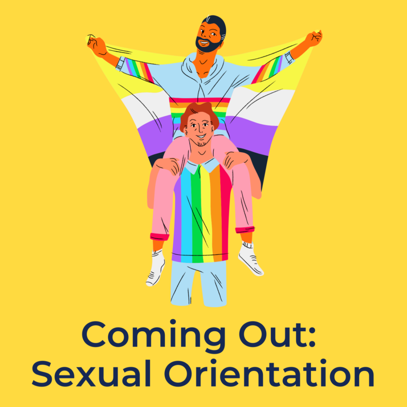 """yellow background, in the center is two people, one is holding the other on their back, and beneath them it reads """"coming out: sexual orientation"""""""