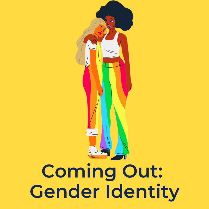 """yellow background, in the center are two people wearing rainbow clothes, and underneath them reads """"coming out: gender identity"""""""