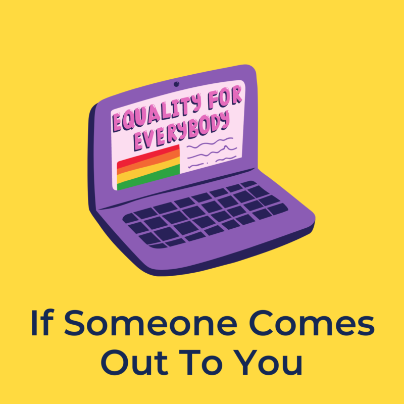"""yellow background, in the center is a laptop that reads """"equality for everybody"""" on the screen, and underneath it reads """"if someone comes out to you"""""""