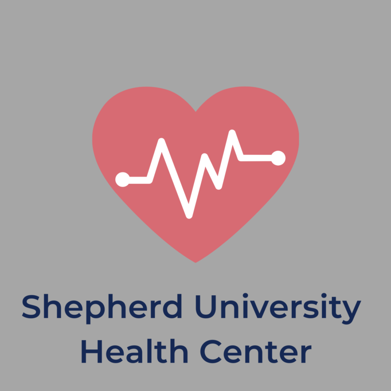"""gray background, in the center is a heart, and below it reads """"shepherd university health center"""""""