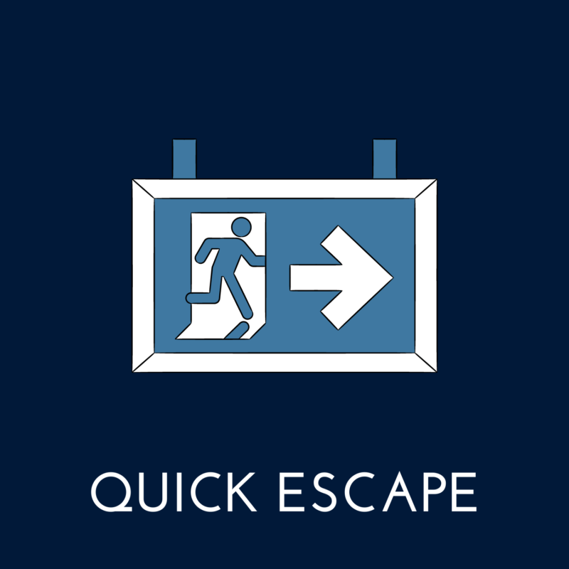 """blue background, in the center is a exit sign, and underneath it reads """"quick escape"""""""