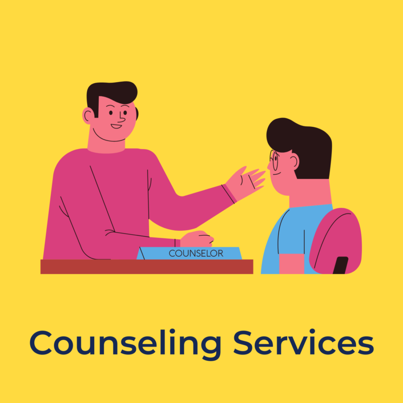 """yellow background, in the center is a counselor talking with a student, underneath it reads """"counseling services"""""""