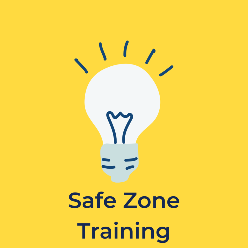 """yellow background, in the center is a lightbulb, below it reads """"safe zone training"""""""
