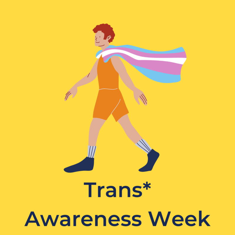 """yellow background, in the center is a person walking with a cape that is a trans flag, and underneath it reads """"trans* awareness week"""""""