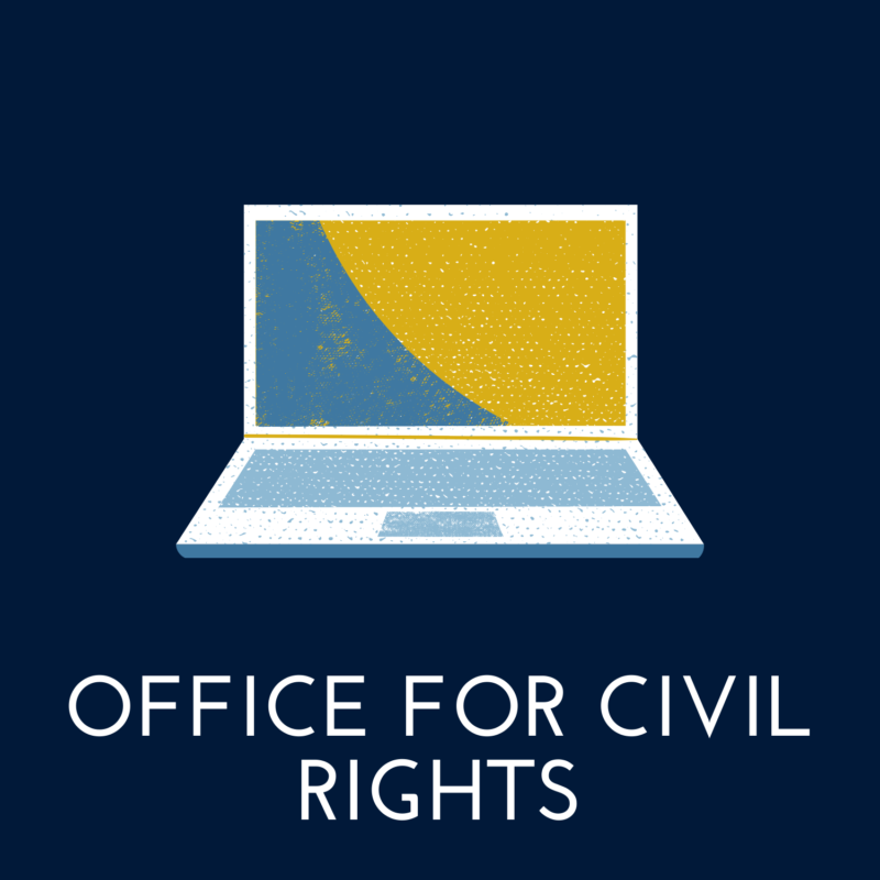 """blue background, in the center is a laptop, and it reads """"office for civil rights"""""""