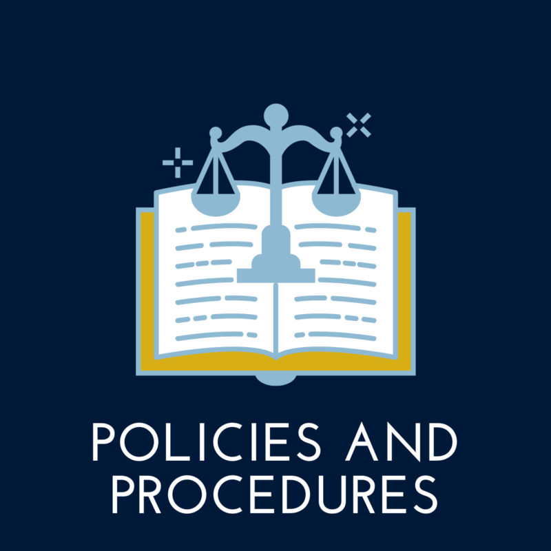 """navy blue background, book in the center, reads """"policies and procedures"""""""