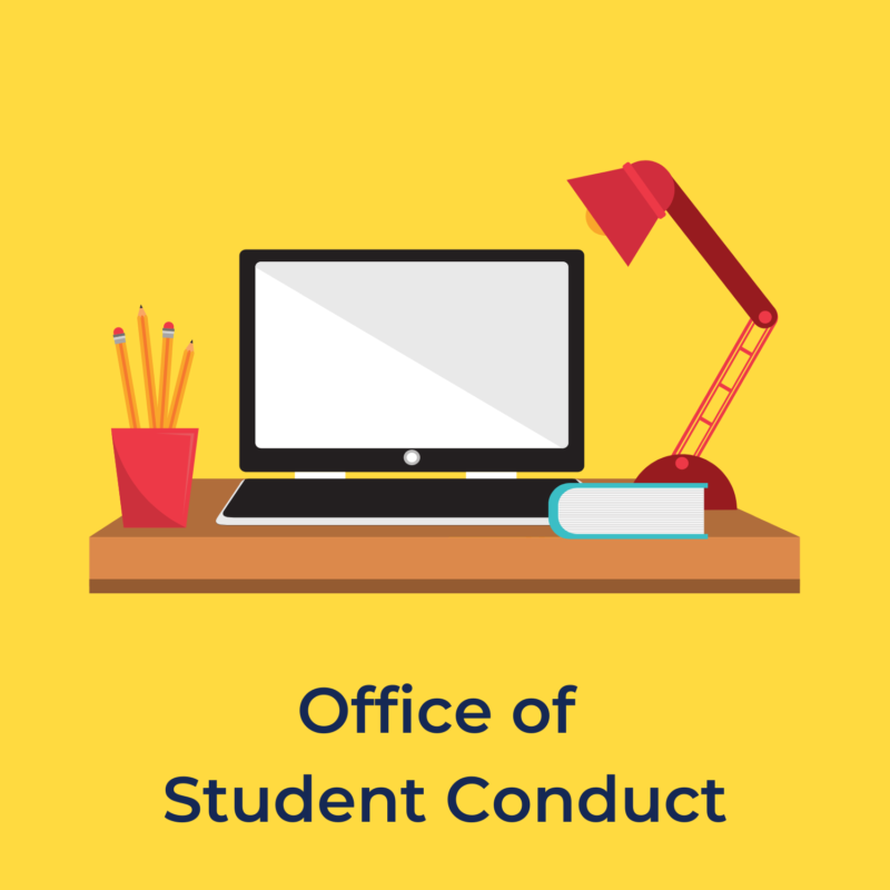 """yellow background, in the center is a desk with a laptop, a lamp, and a cup of pencils, and underneath it reads """"office of student conduct"""""""