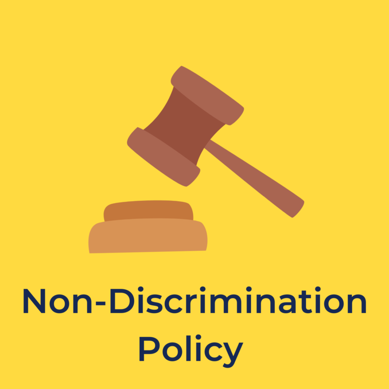 """yellow background, in the center is a gavel and underneath it reads """"non-discrimination policy"""""""