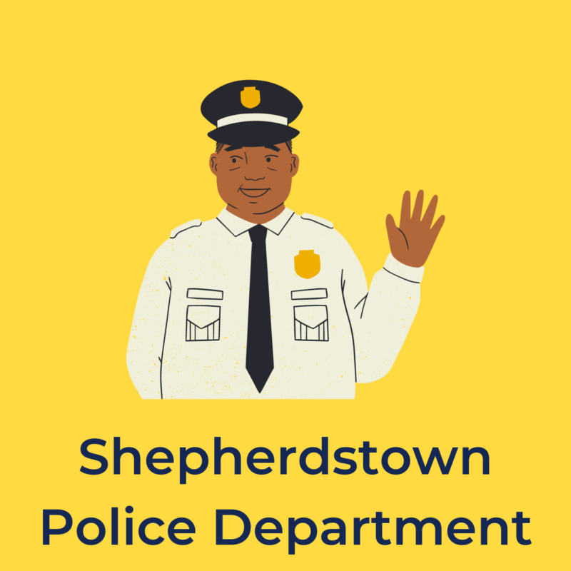"""yellow background, in the center is a black police officer, and below it reads """"shepherdstown police department"""""""
