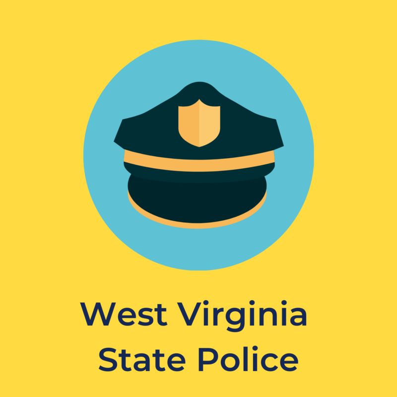 """yellow background, in the center is a police cap, and underneath reads """"west virginia state police"""""""
