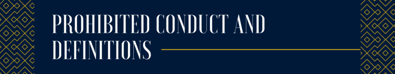 prohibited conduct and definitions
