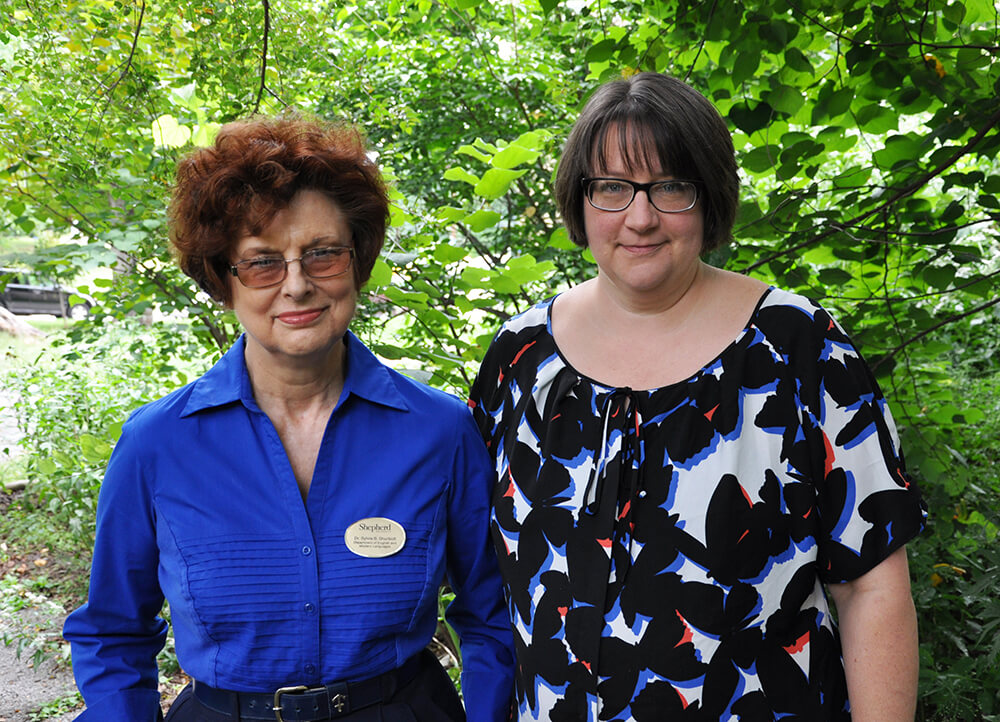 Dr. Sylvia Shurbutt, coordinator for the Shepherd University Appalachian studies program, and Rachel Meads, director of the Performing Arts Series at Shepherd, work together to present the annual Appalachian Heritage Festival.