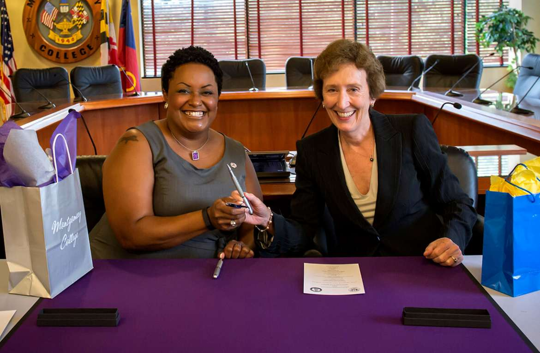 Montgomery College President DeRionne P. Pollard (L) and Shepherd President Suzanne Shipley (R)