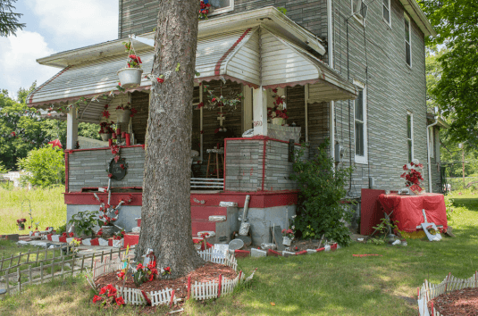 House with Red Trim and Foil